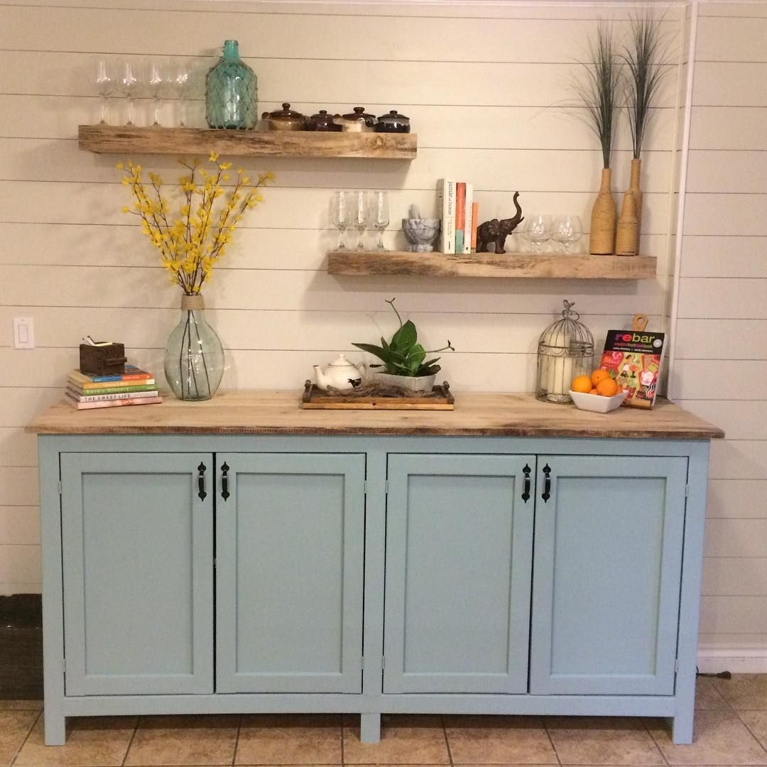 Added faux shiplap over top of some horrible wallpaper, built this massive cabinets to store all ...