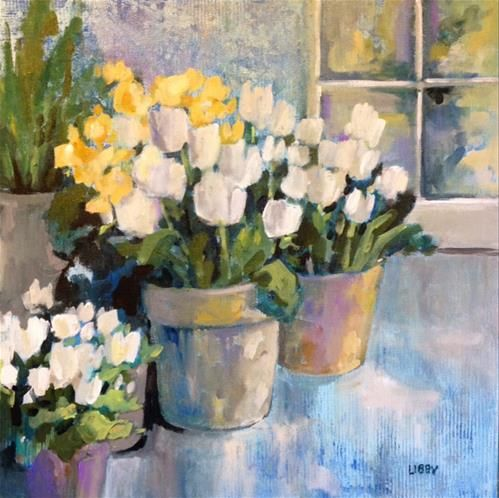"""Daily Paintworks - """"Forever Tulips"""" - Original Fine Art for Sale - © Libby Anderson"""
