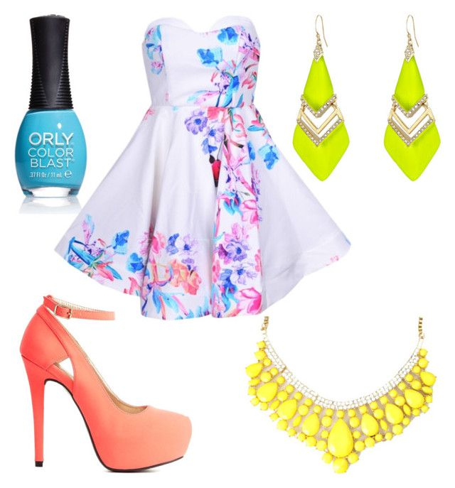 """Neon ❤️"" by jordynn-nicole-fishy ❤ liked on Polyvore featuring Charlotte Russe, Alexis Bittar and ORLY"