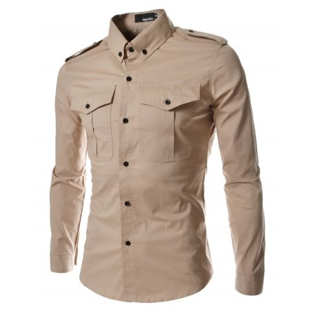 a8c3e96d2a Brand new Korean drama fashion clothes for men. Military button-down long sleeved  shirts