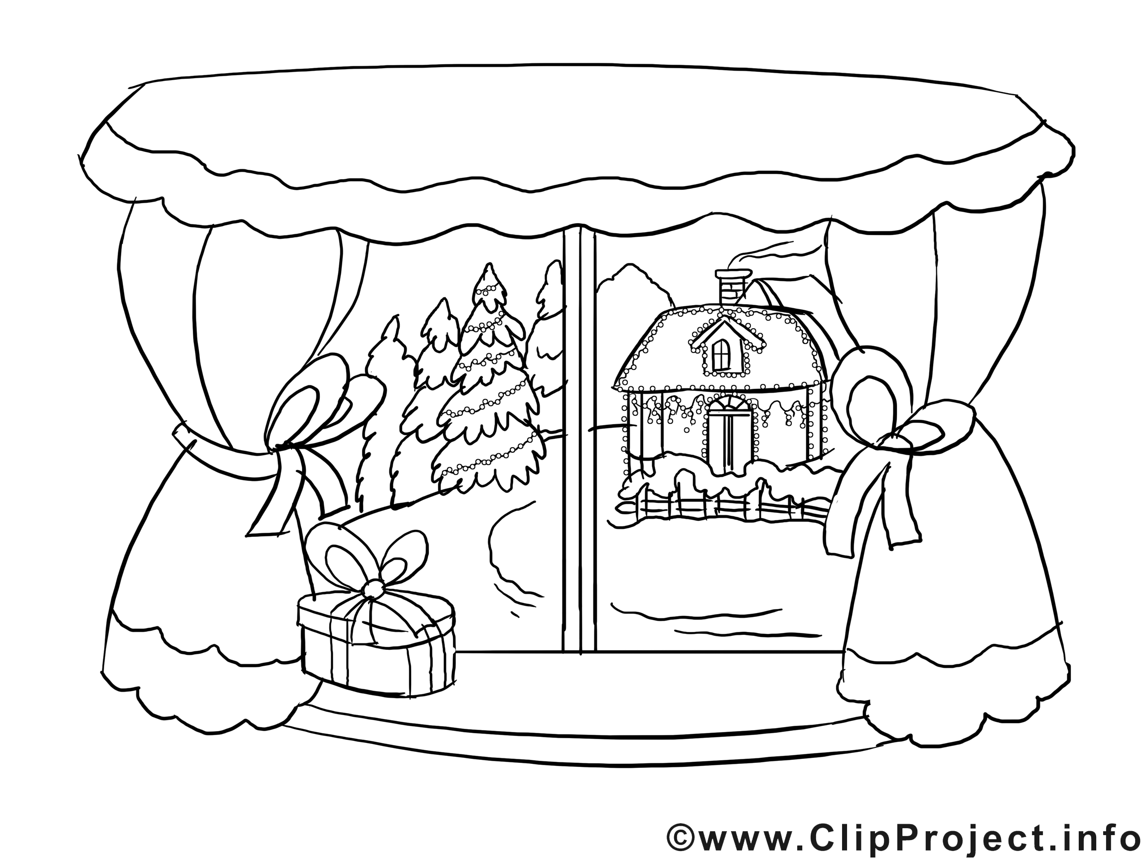Bild zum Ausmalen - Winterlandschaft im Fenster Prints