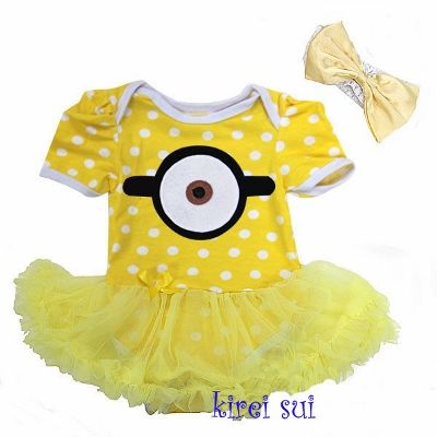 b524afcdc Baby Girls Despicable Me Minion Costume Bodysuit Romper Pettiskirt ...