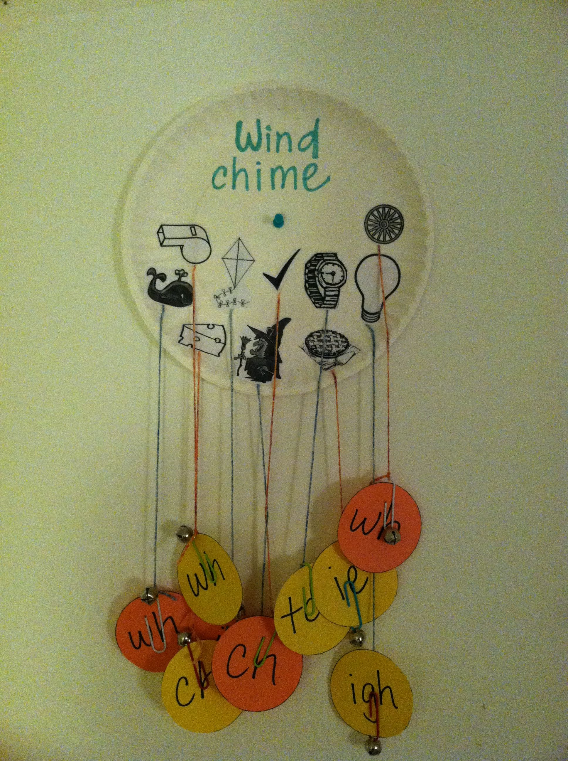 Digraph and long vowel i wind chime - glue pictures to plate w ...