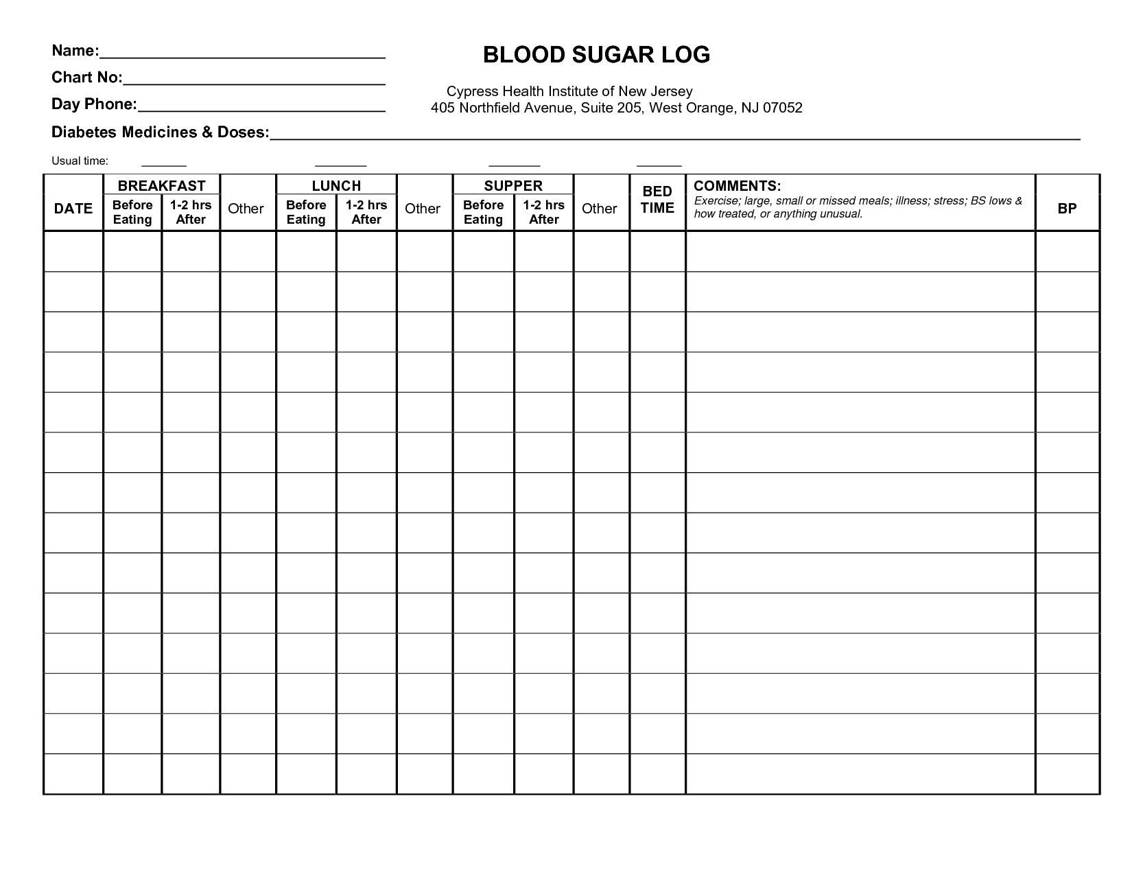Type 1 Diabetic Log Sheets