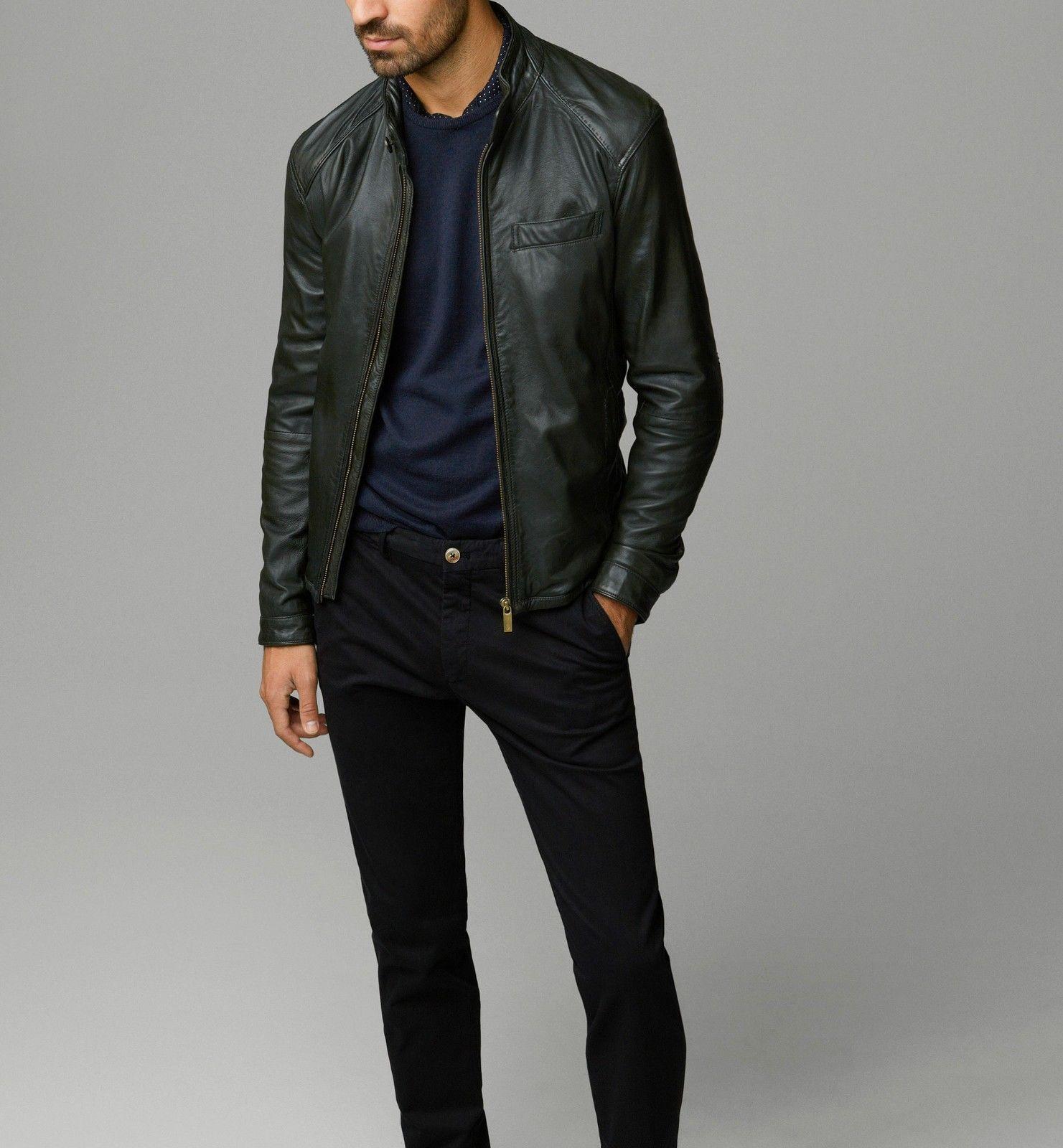 Massimo Dutti Men S Nappa Leather Jacket With Mandarin Collar Season July 2014 Ebay Casual Leather Jacket Leather Jacket Style Green Leather Jackets [ 1600 x 1481 Pixel ]