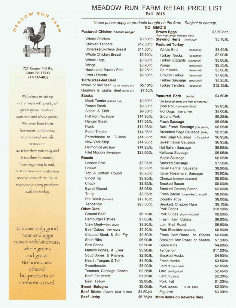 Meadow Run Farm Price List Lititz Pastured Chicken Pastured Pork Farm
