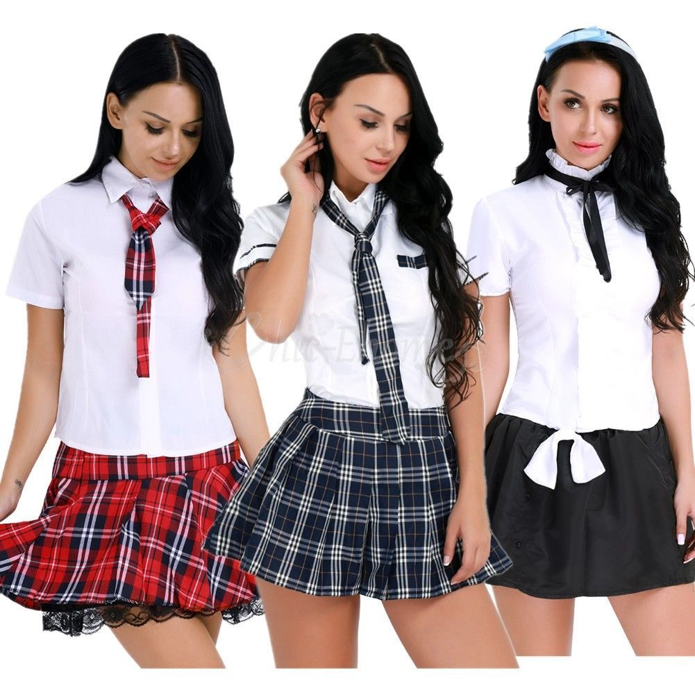 Women Lady School Girl Uniform Costume Fancy Dress Cosplay Shirt Plaid Skirt Tie