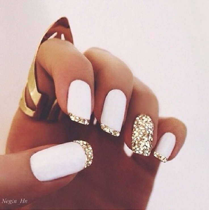 Top 10 Simple Ways to Spice Up White Nails - Top 10 Simple Ways To Spice Up White Nails White Nails, Gold And