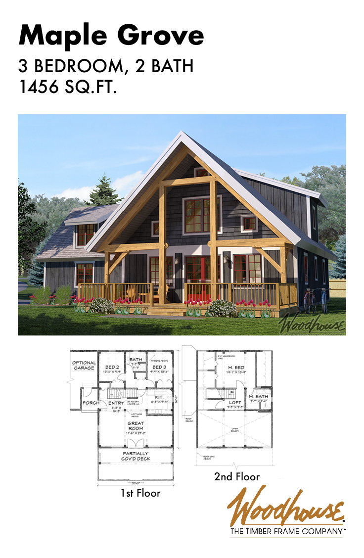 This Gorgeous 3 Bedroom 2 Bathroom Timber Frame Home Plan With A Loft Features Its Great Room Ri Timber Frame Home Plans Cabin Floor Plans A Frame House Plans