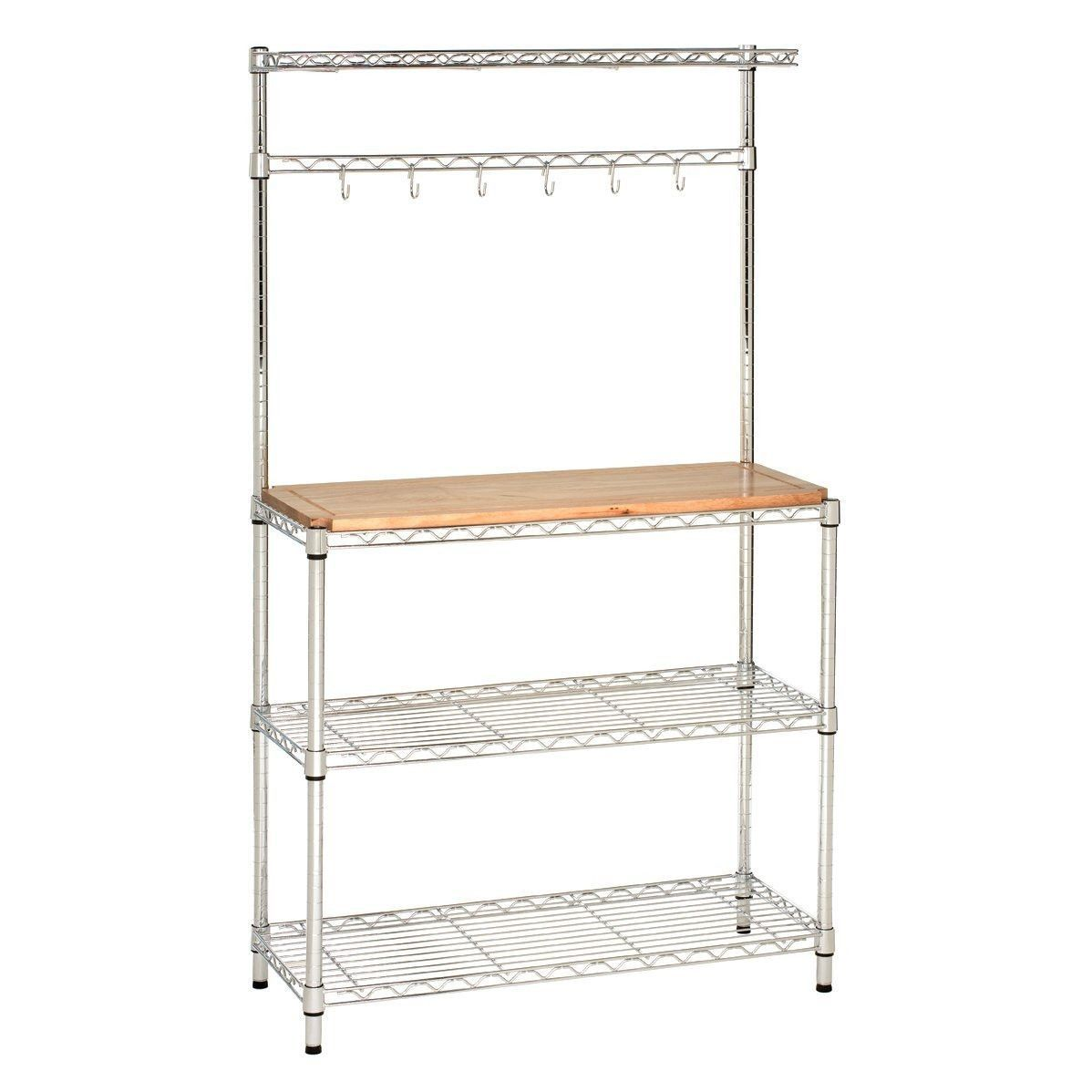 Modern Kitchen Bakers Rack with Hanging Bar and Wood Top | Home ...