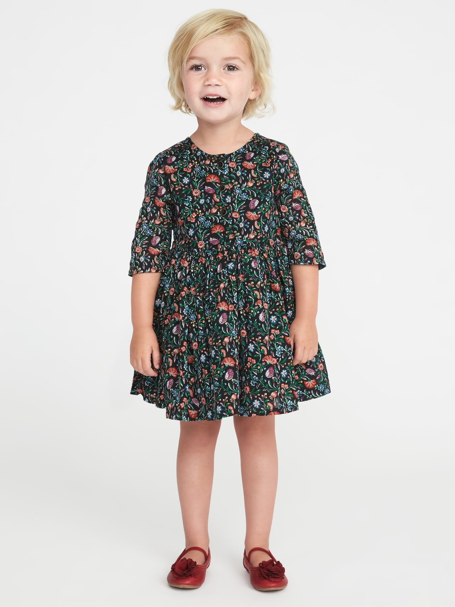 Fit & Flare Button Front Dress for Toddler Girls