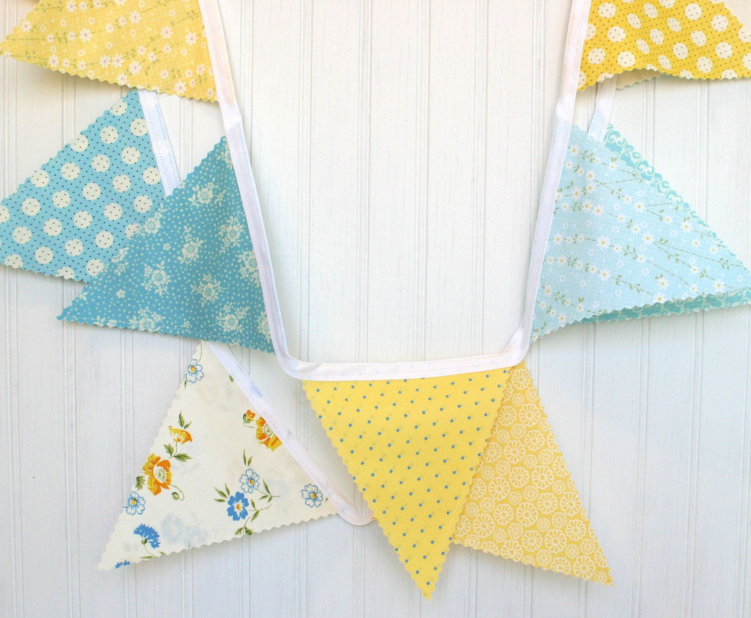 Bunting fabric banner fabric flags yellow and aqua blue flowers