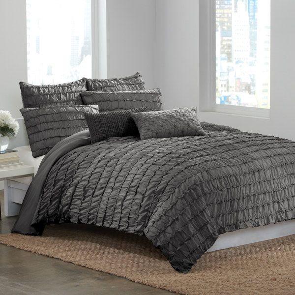 DKNY® Ruffle Wave Charcoal Duvet Cover - Bed Bath & Beyond | For the ...