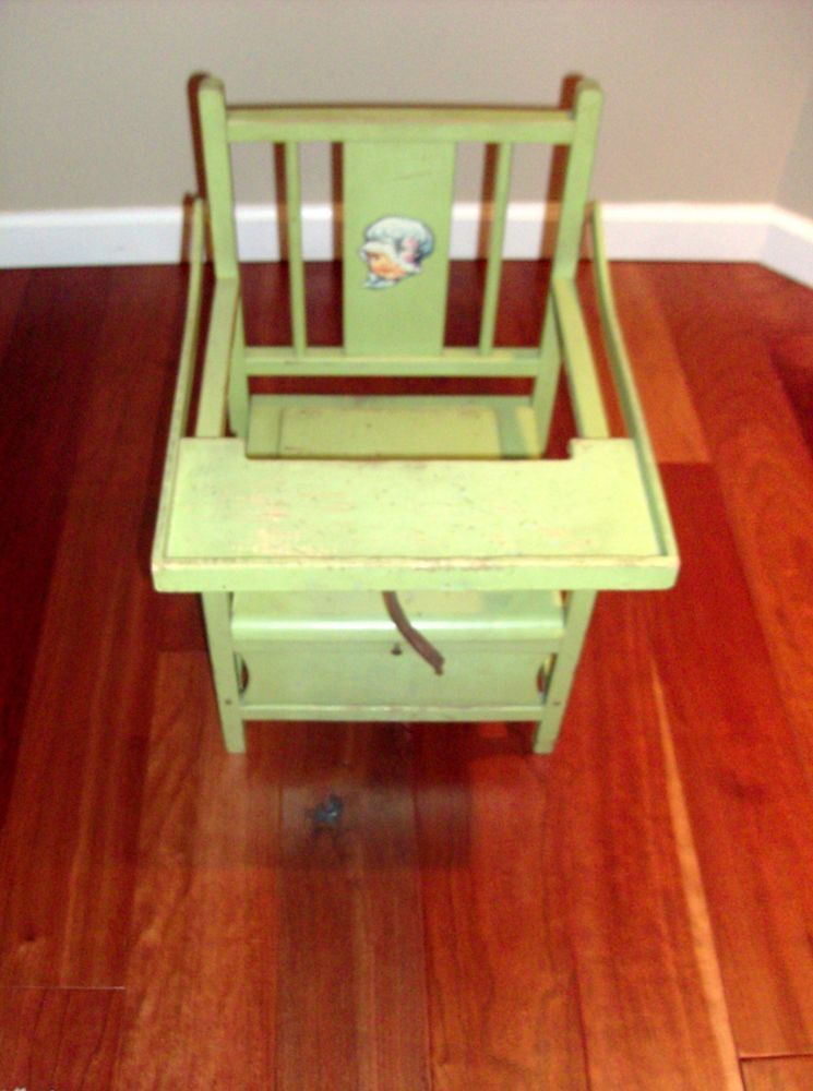 Vintage Wooden Baby Potty Chair with Tray Primitive Training Seat #Unknown - Vintage Wooden Baby Potty Chair With Tray Primitive Training Seat