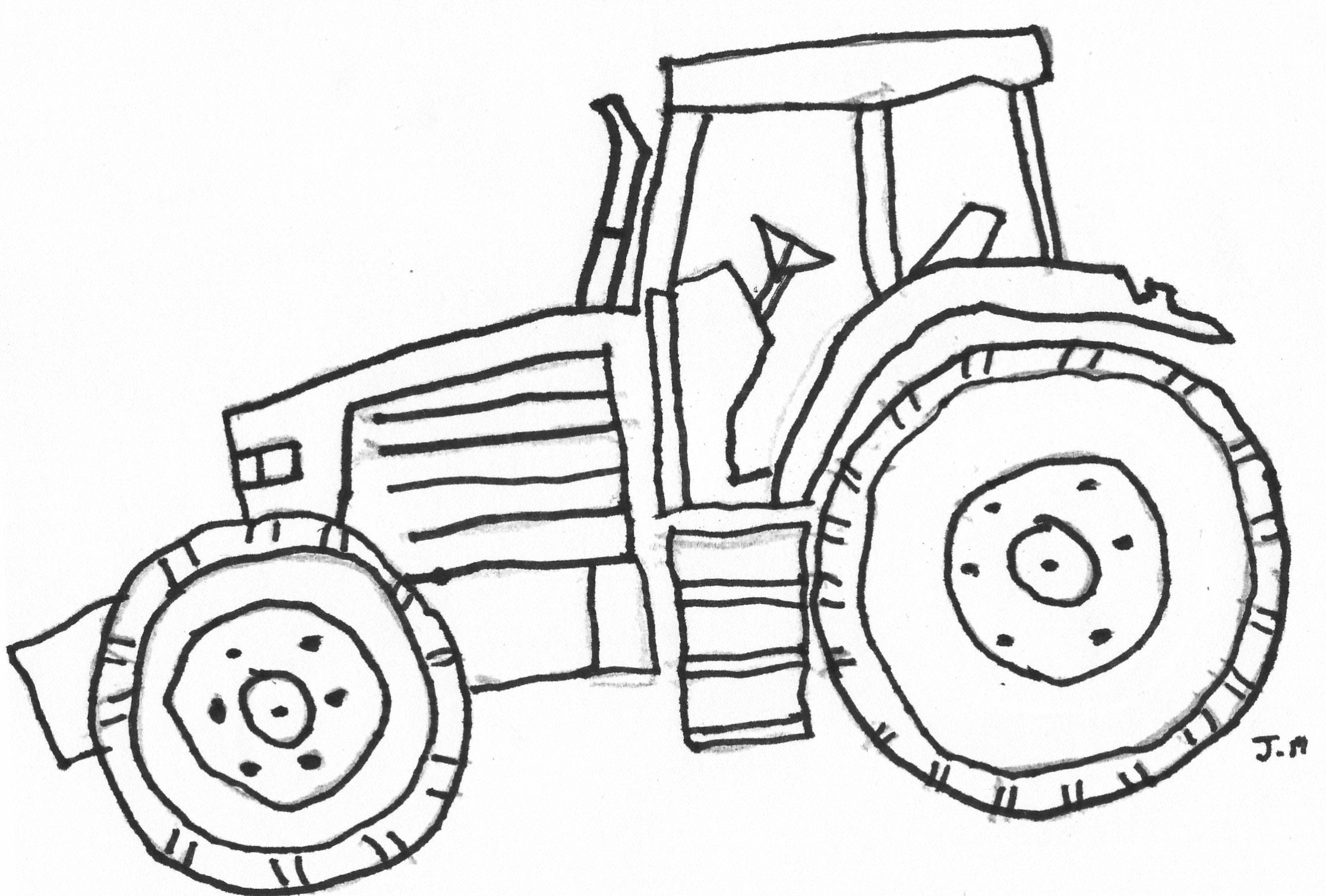 Coloring Pictures John Deere Tractors - Easy john deere tractor drawing coloring pages of john deere tractors