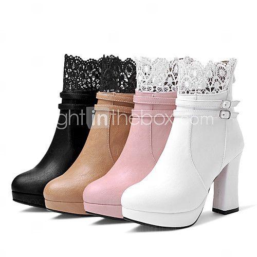 Mujer-Tacón Robusto-Confort / Botas a la ModaBoda / Exterior / Vestido / Casual-Semicuero-Negro / Blanco / Beige Vente À La Mode Vente De Faux sI6mMA