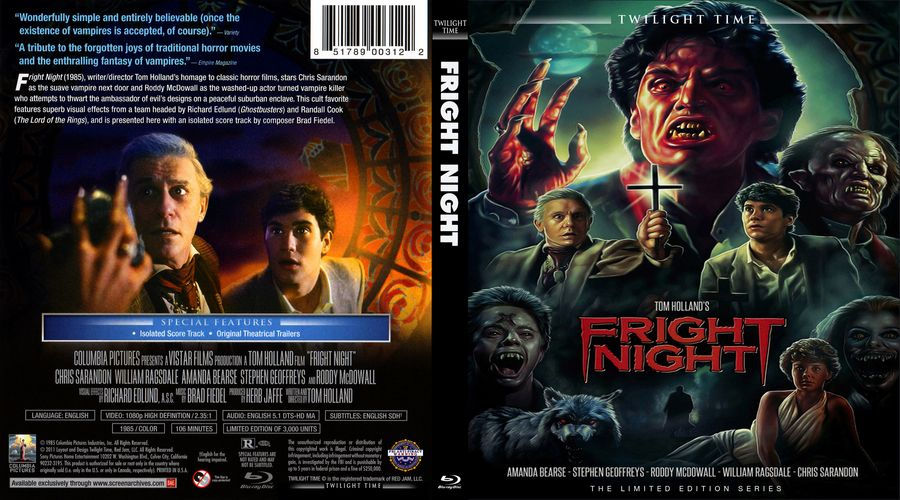 Fright Night 1985 Scanned Blu Ray Cover With Images Fright