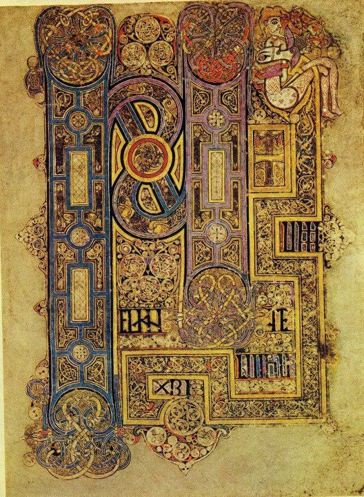 On permanent display at Trinity College Dublin, the Book of Kells  (c. 800) is an unfinished Latin manuscript of four Gospels of the new Testament with additional text & detailed artwork & illuminations...
