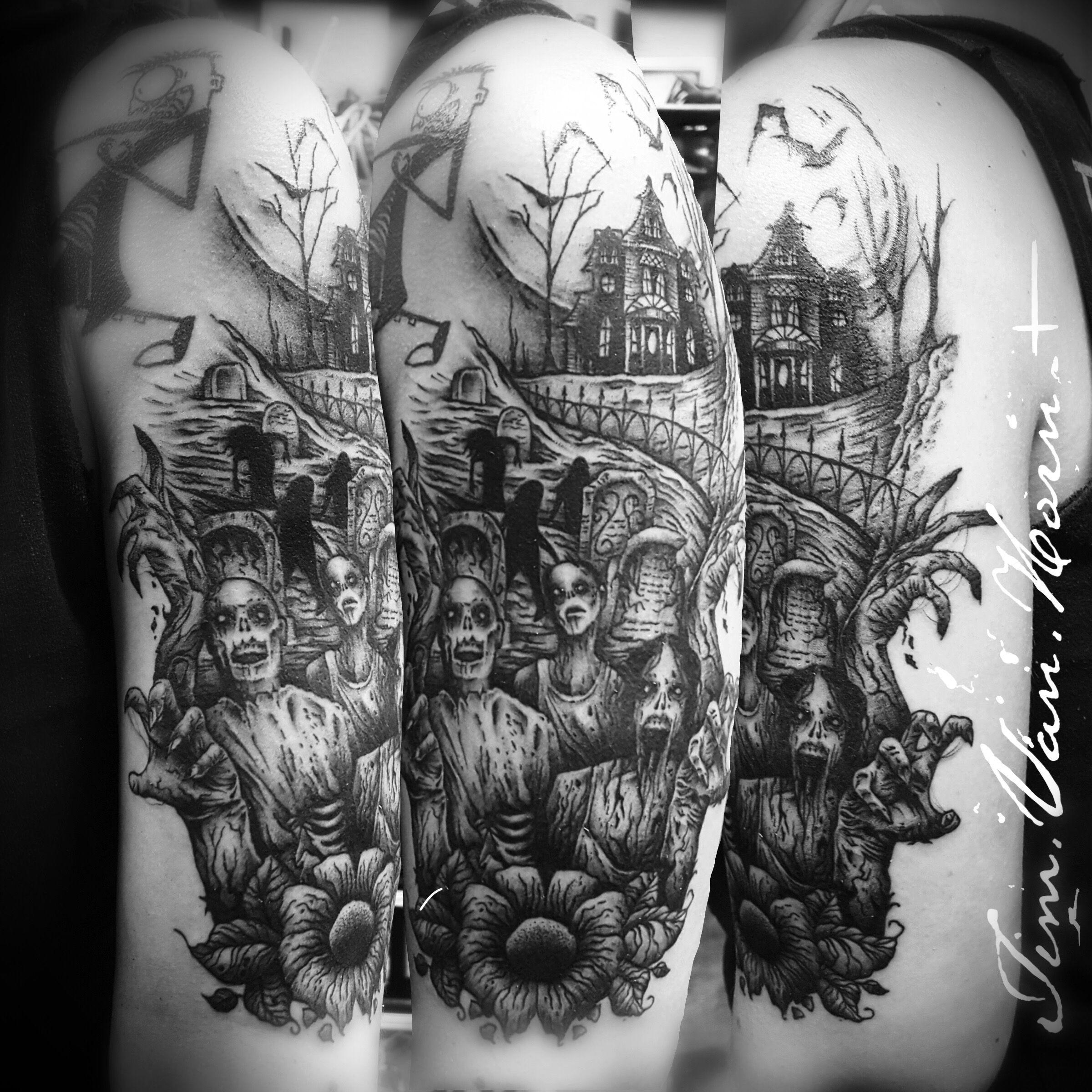 Custom blackwork zombie graveyard cemetery tattoo by tim