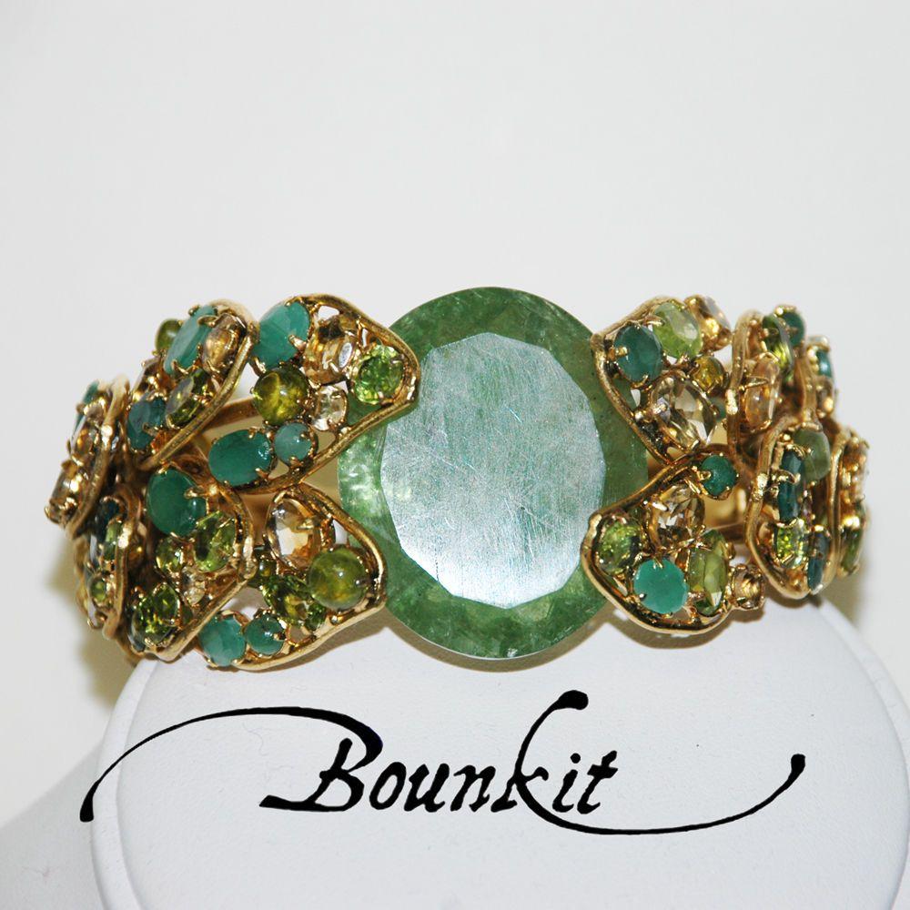 Stunning Emerald Tourmaline Green Onyx Citrine Cuff Bracelet By Bounkit Ebay