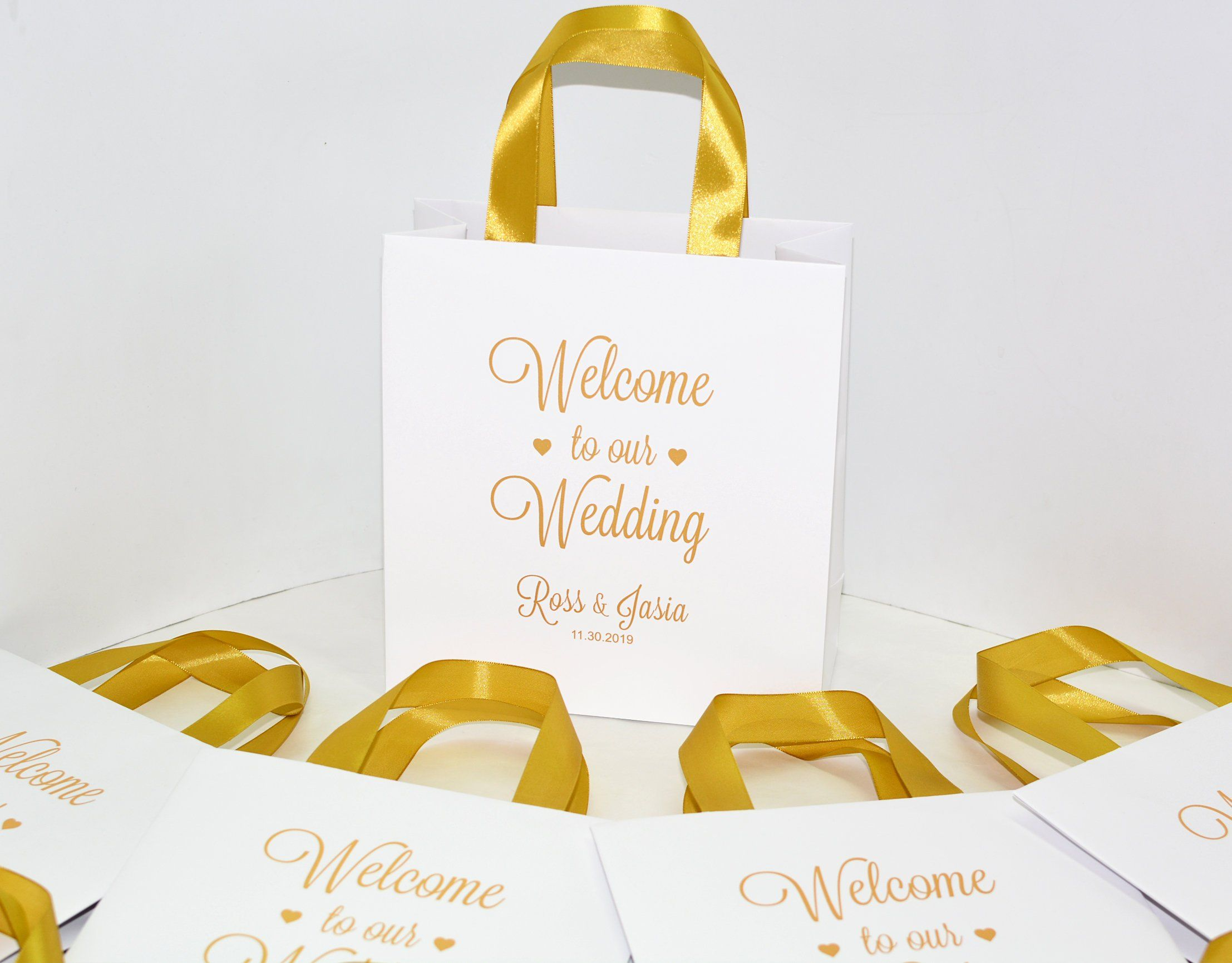 20 Gold Personalized Wedding Welcome Bags With Satin