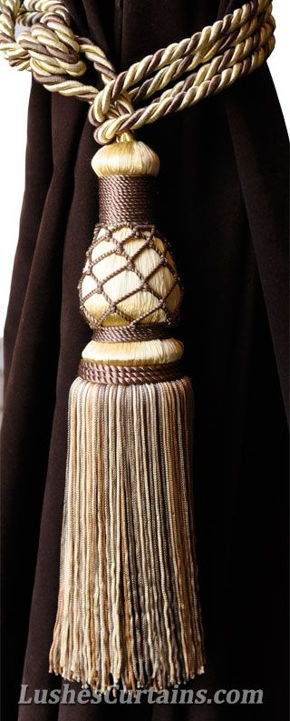 Luxury Gold With Brown Curtain Tassel Tie Backs Enormous And Beautiful Can I Make Something Similar Gold Curtains Curtain Tie Backs Curtains