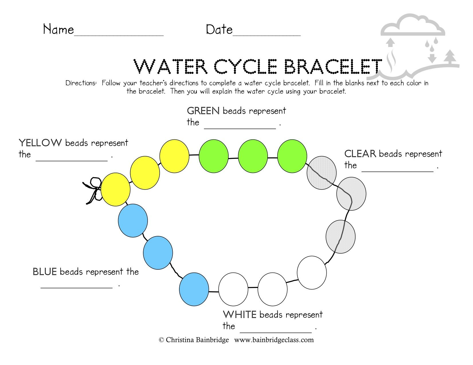 Worksheets Water Cycle Worksheets water cycle bracelets science pinterest teaching bracelets