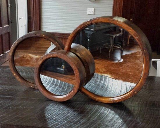 Antique Flat Belt Pulley Wheel Mirror Wheel Mirror Desk Mirror Antiques