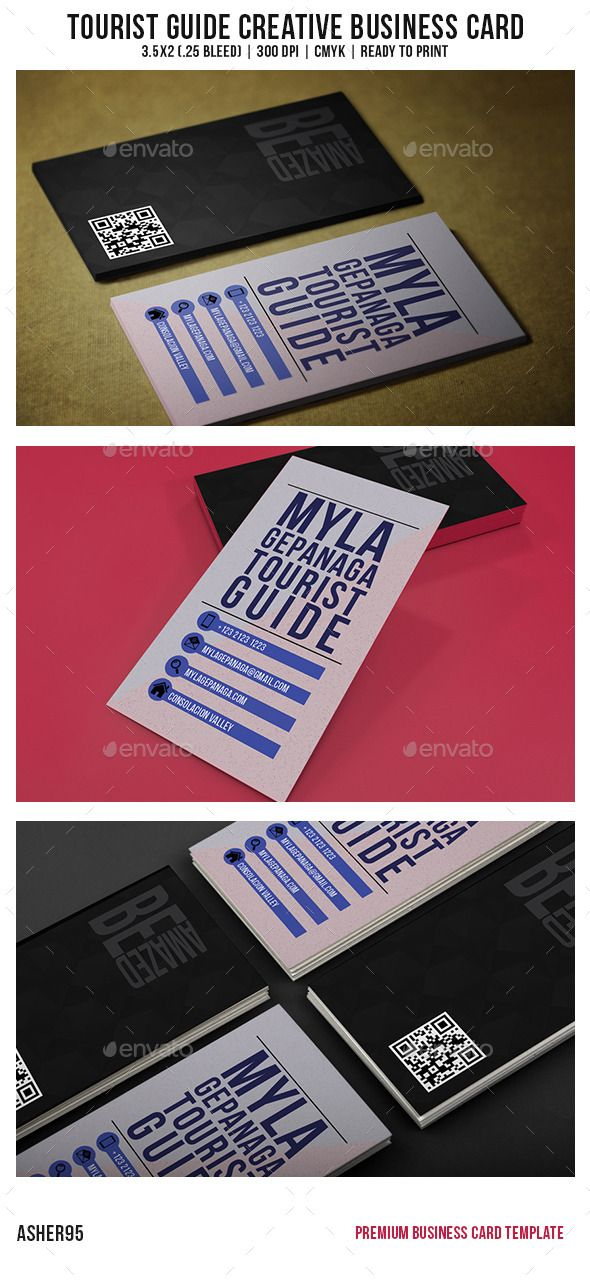 Tourist guide creative business card card templates business tourist guide creative business card template psd buy and download http reheart Image collections