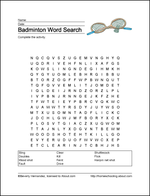 Badminton Wordsearch Vocabulary Crossword And More Badminton Vocabulary Student Learning