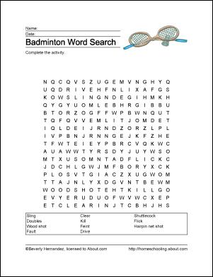 Badminton Wordsearch Vocabulary Crossword And More Badminton Vocabulary Word Search
