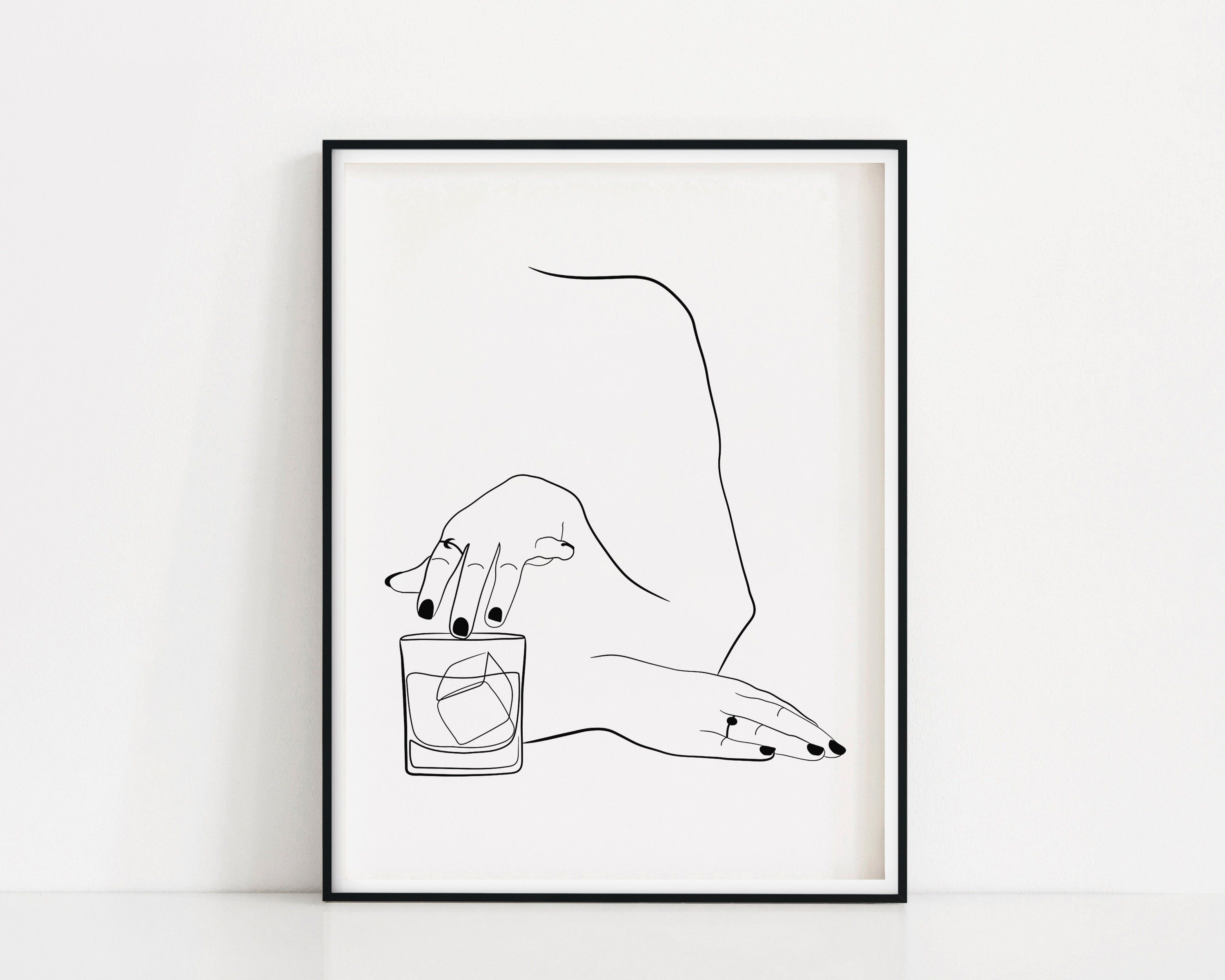 Photo of Whiskey Woman Art Print | Line Drawing Whiskey Glass | Old Fashioned Cocktail Poster | Female Drinking Bourbon Wall Art | Whiskey Lover Art