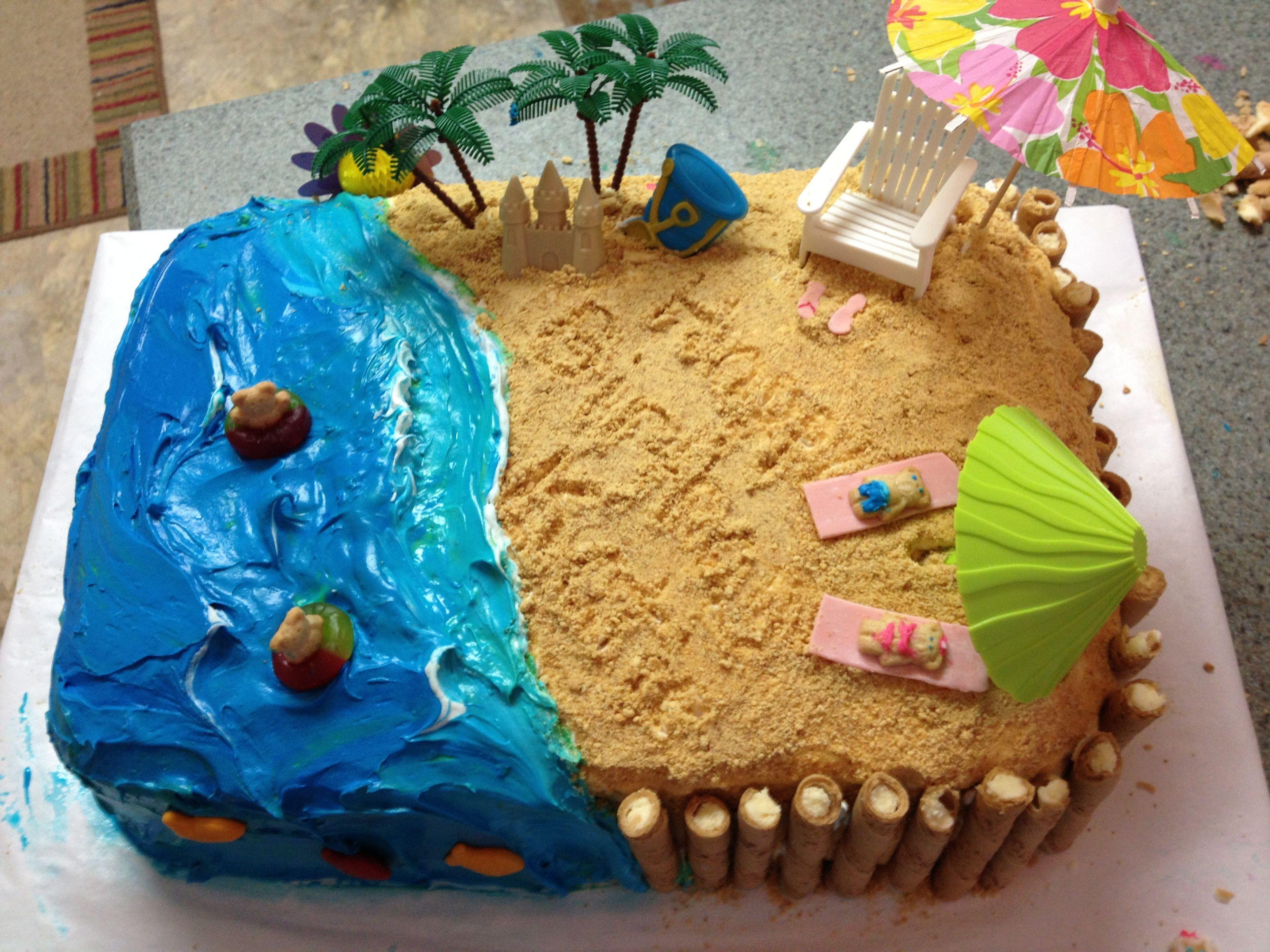 Homemade Beach Birthday Cake With Images Beach Birthday Cake