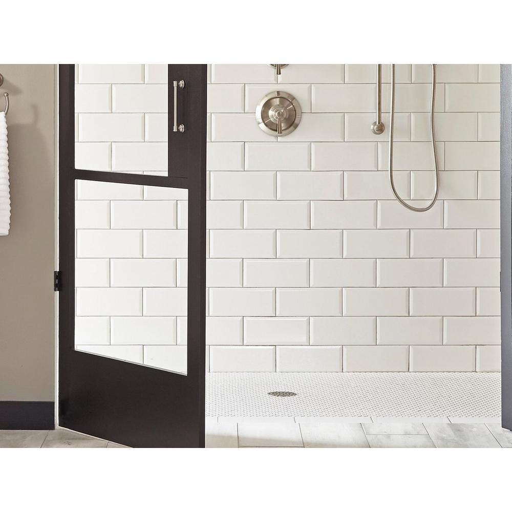 Bright White Ice Beveled Ceramic Wall Tile Ceramic Wall
