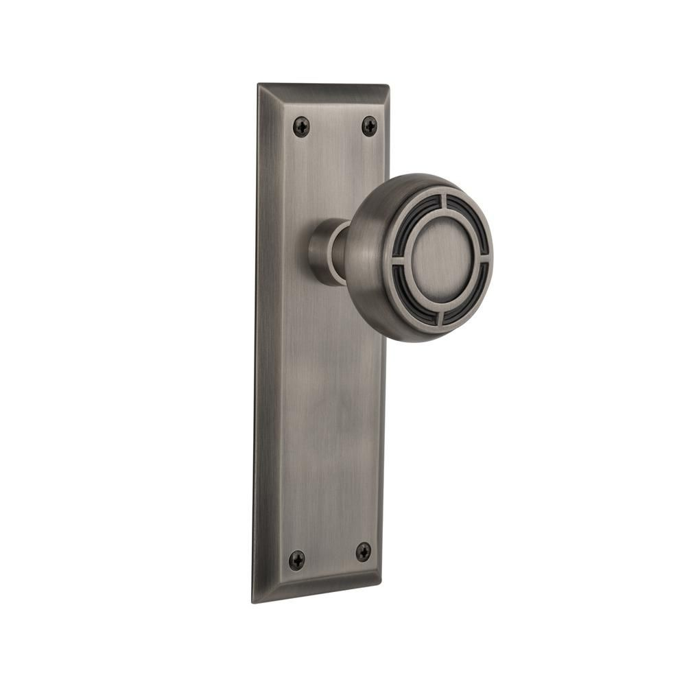 New York Plate Single Dummy Mission Door Knob in Antique Pewter
