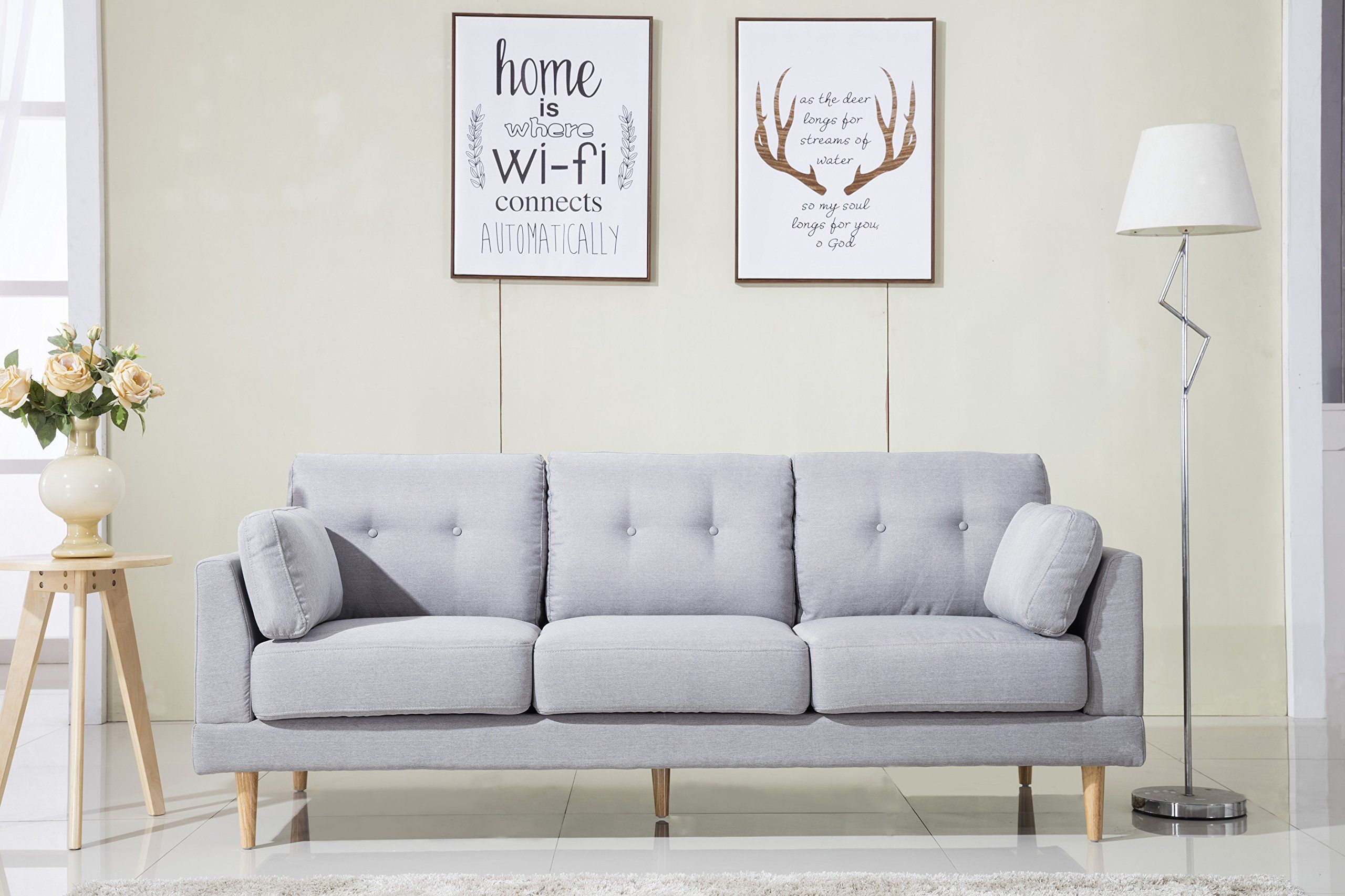 Mid Century Modern Ultra Plush Linen Fabric Sofa, Color Dark Grey And Light  Grey (