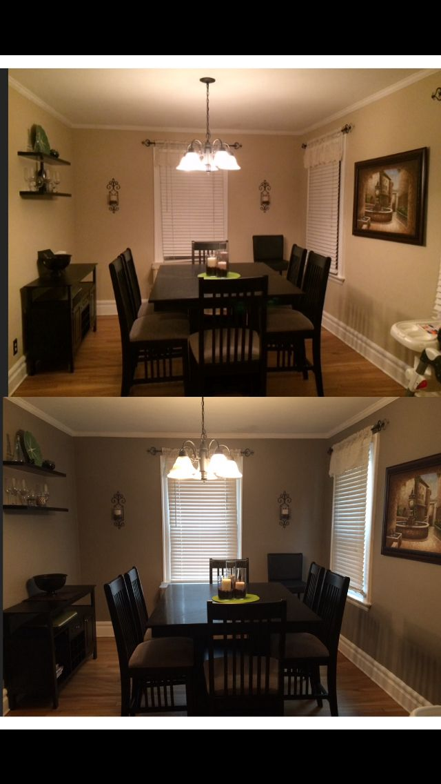 40 Makeover My New Dining Room Color Behr Paint Rustic Taupe Neutral With Dark Furniture And Green Beige Accents