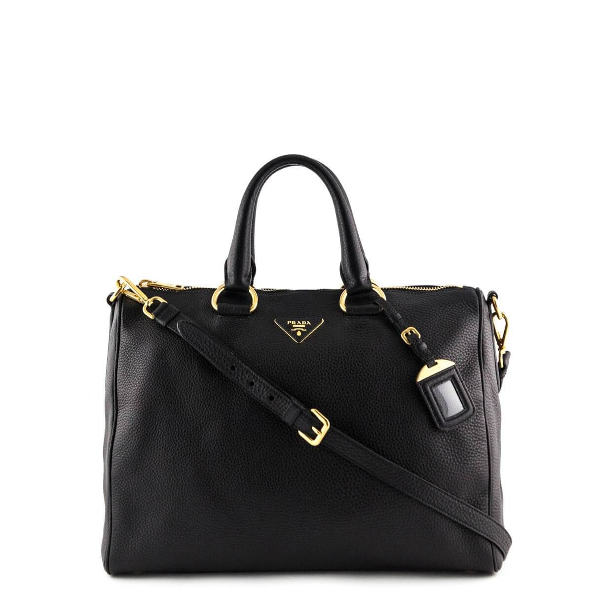 41b4bb5030f51e Prada Black Vitello Daino East West Satchel - LOVE that BAG - Preowned  Authentic Designer Handbags