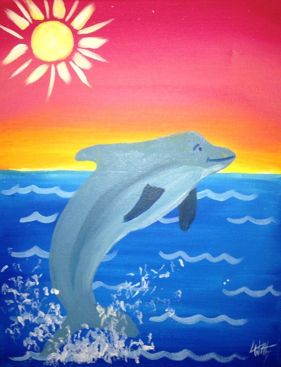 dolphin paintings moonlight dance art inspirations pinterest
