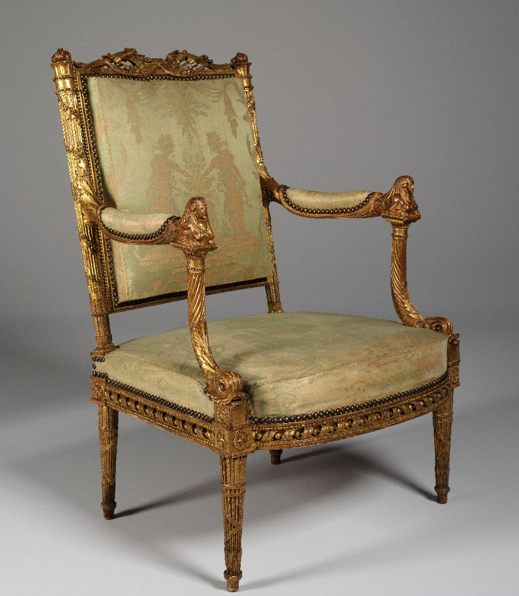 From the Apartments of Queen Marie Antoinette's in Fontainebleau Palace, this chair is the only one left of a set commissioned from the master cabinetmaker Georges Jacob in the years 1785-1786.