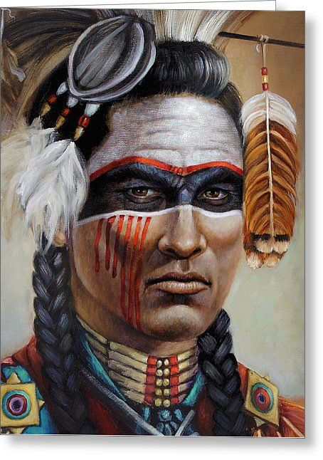 Red road warrior detail greeting card by geraldine arata native red road warrior detail greeting card by geraldine arata native american indiansgreeting m4hsunfo