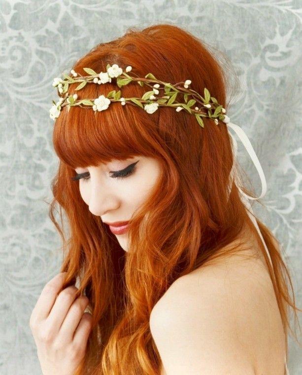 Rote Haare Haarschmuck Blumenkranz Pony Braut Hochzeit Ideen Fur