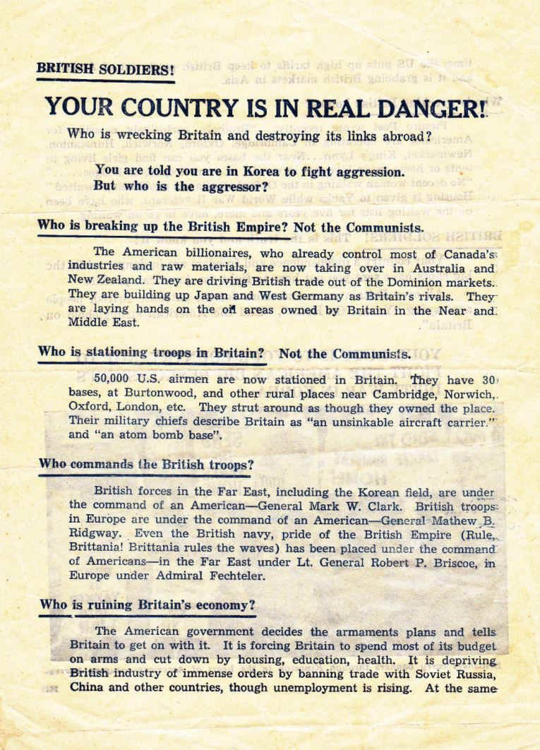 This Leaflet Tells British Soldiers That The Us Is Taking Over
