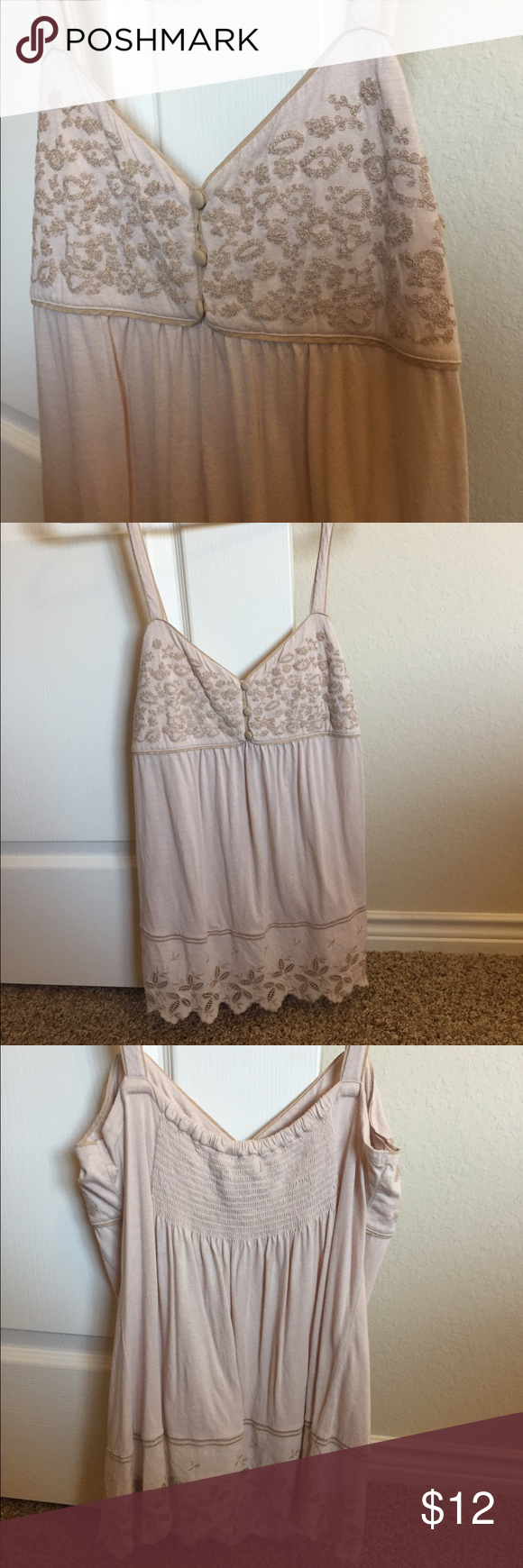 Lucky Brand detail cream spaghetti strap, size M Lucky Brand spaghetti strap, cream colored, detail at bust and lace detail at bottom. Gathered back for comfortable fit. Very comfortable and flattering. 10% off all bundles of two or more! Lucky Brand Tops Blouses