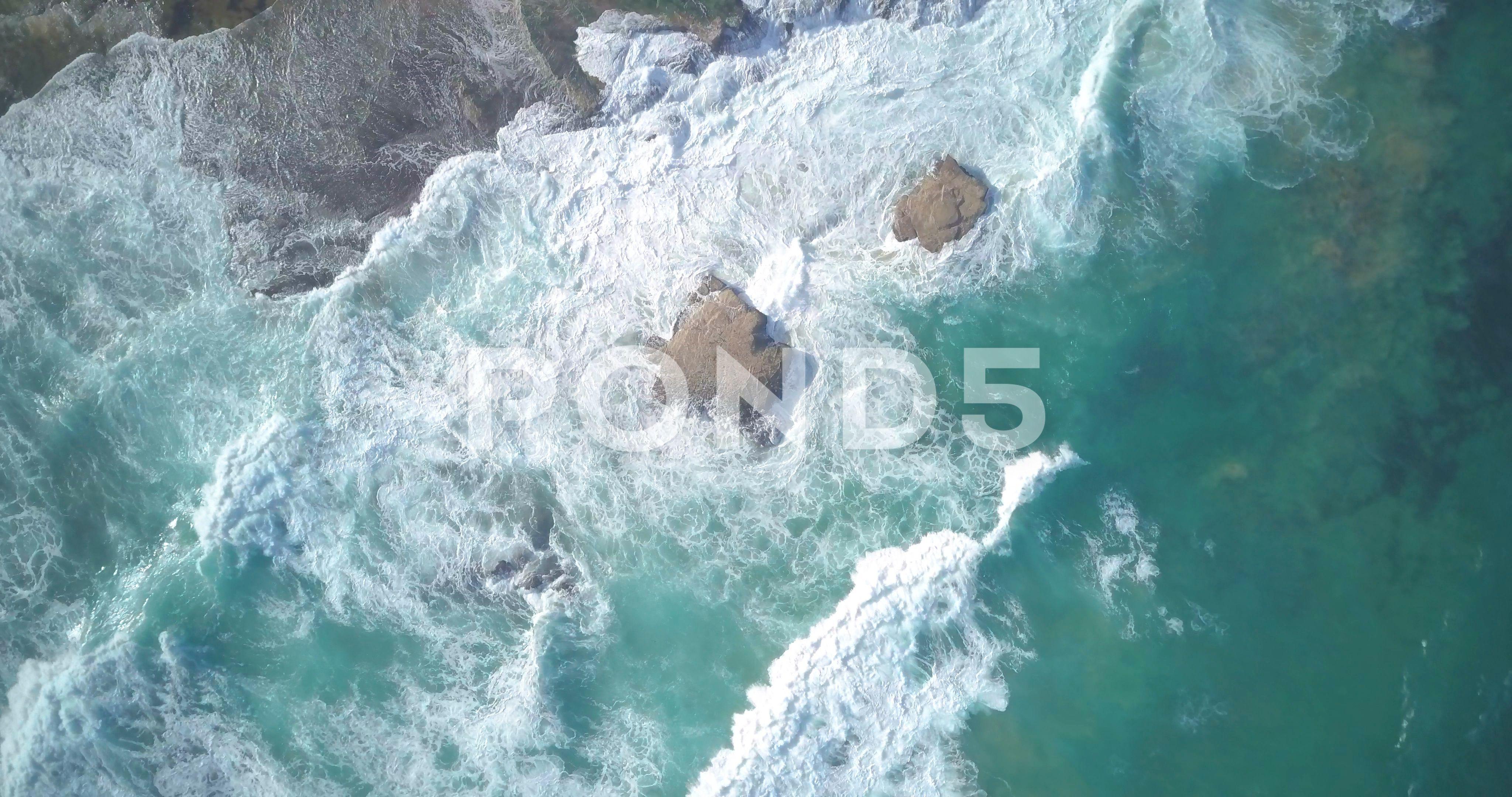 Drone View Of Waves Splashing On Rocks In Sea Ad Waves Splashing Drone View Sea Waves Aerial Aerial View