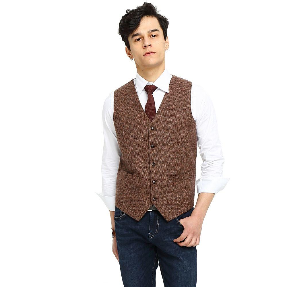 2017 Airtailors Brand Mens Vest Wedding Brown Wool Herringbone Tweed ...