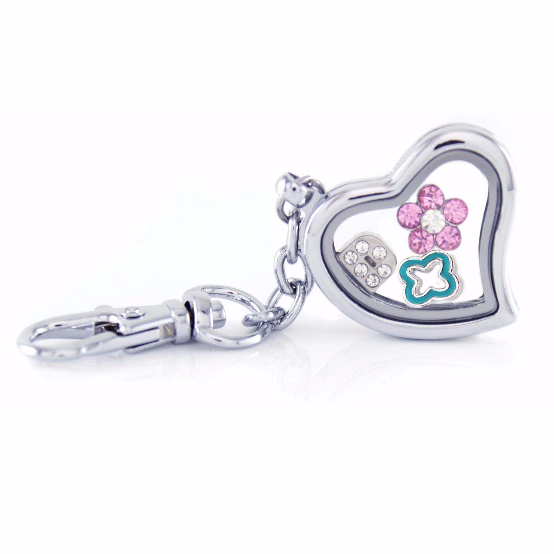 Silver Heart Floating Locket Keychain