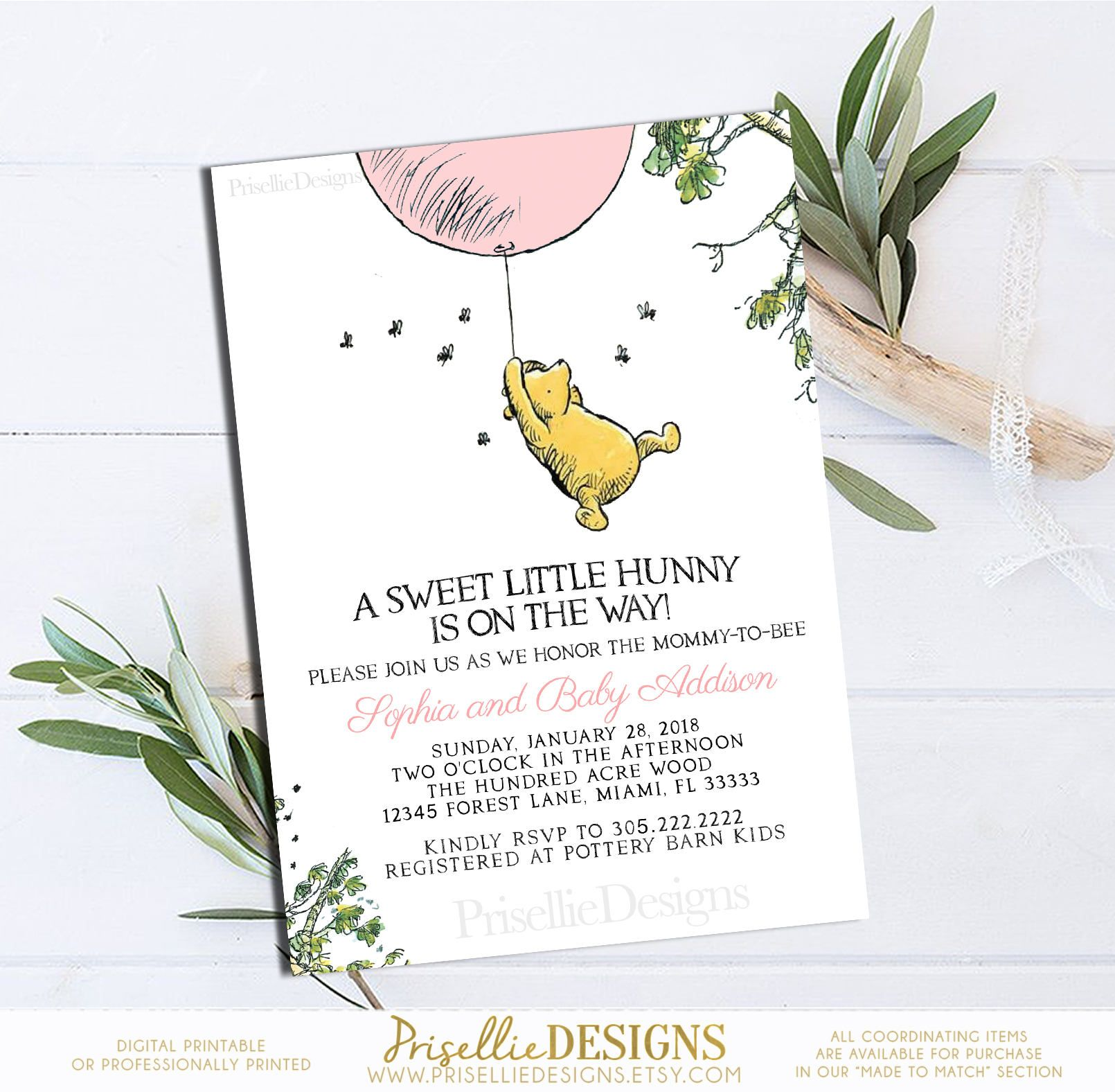 Winnie The Pooh Baby Shower Invitation Classic Winnie The Etsy Winnie The Pooh Birthday Printable Birthday Invitations Trendy Baby Shower Invitations