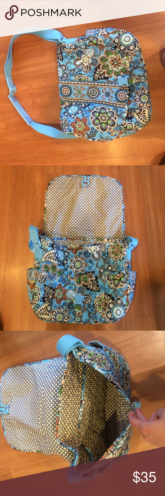 Vera Bradley On the Go bag Perfect size for carrying computers or textbooks-6 open pockets and one large zipper pocket in the back Vera Bradley Bags Laptop Bags