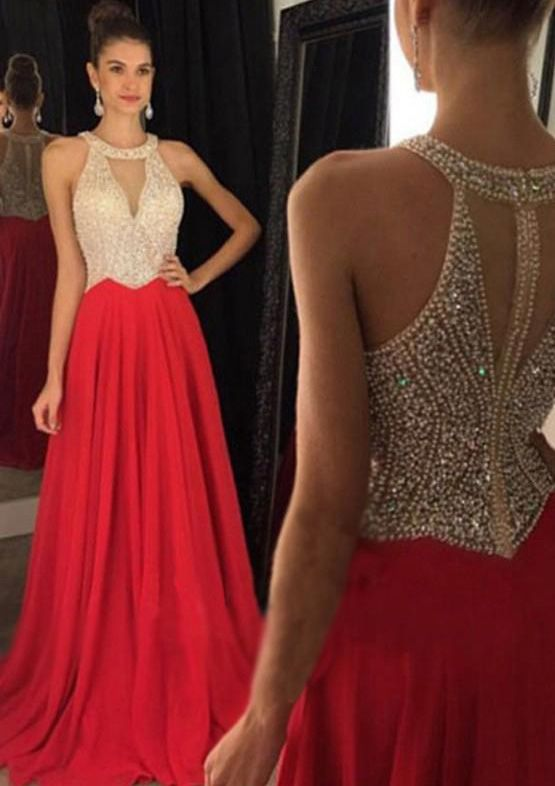 c8130b20b9ed A-line Princess Scoop Neck Sleeveless Sweep Train Chiffon Prom Dress With Crystal  Detailing